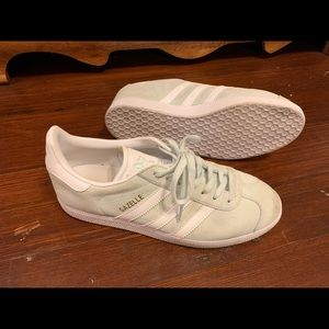 Adidas Gazelles in Mint Green with White Sole